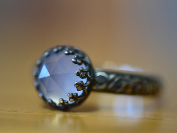 Handmade Oxidised Floral Silver Natural Chalcedony Ring