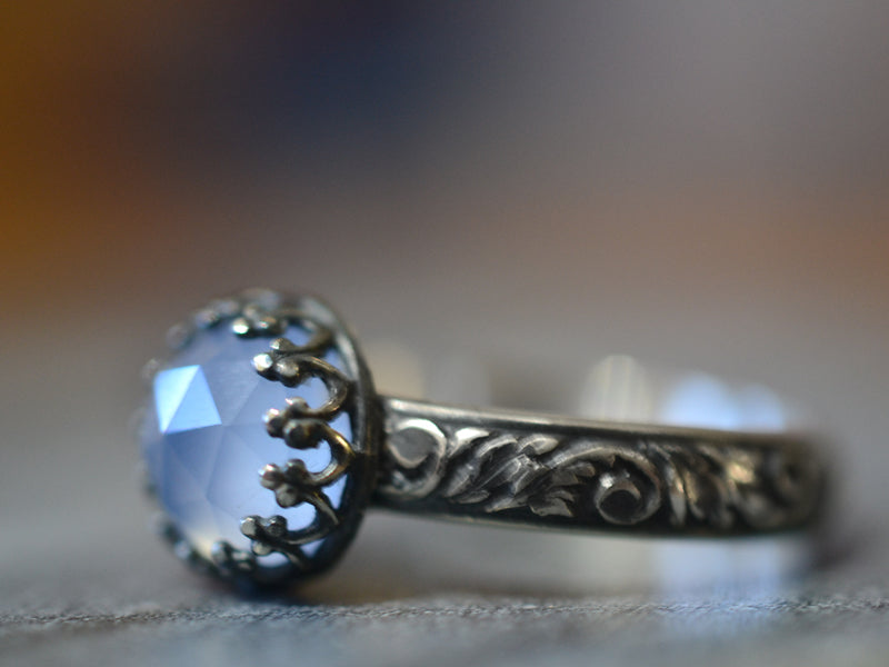 Oxidised Floral Silver Natural Chalcedony Ring