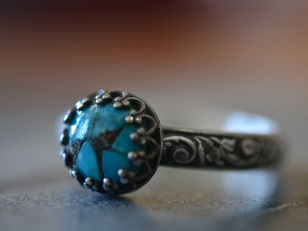 Oxidized Floral Silver Copper Turquoise Ring for Women