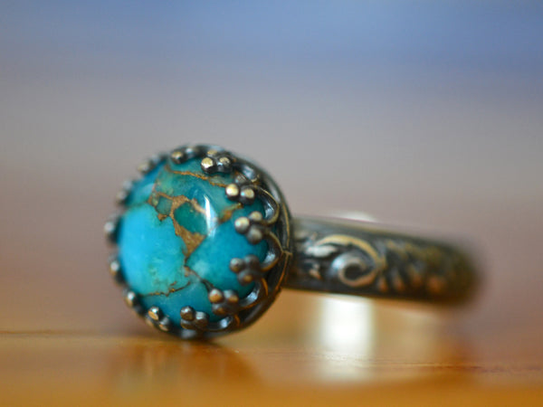 Oxidised Floral Silver Copper Turquoise Statement Ring