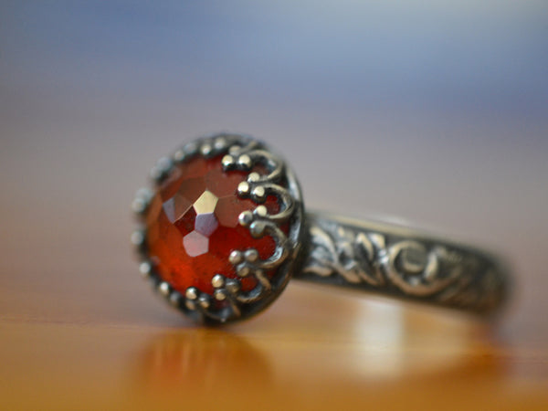 Handmade Oxidized Floral Silver Hessonite Garnet Ring