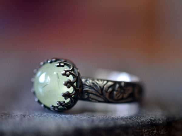 Gothic Oxidised Silver & Natural Prehnite Gemstone Ring