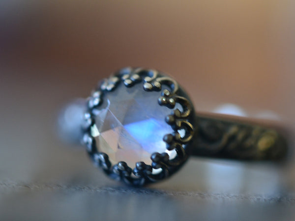 Women's Rainbow Moonstone Ring in Oxidised Sterling Silver