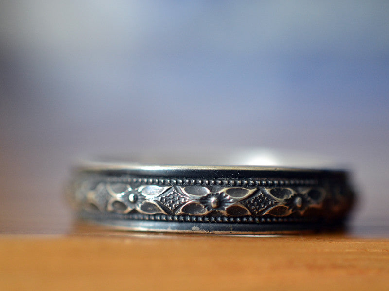 Oxidized Floral Silver Victorian Poesy Wedding Band