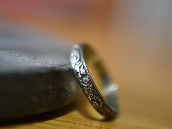 Personalised Oxidised Silver Renaissance Band