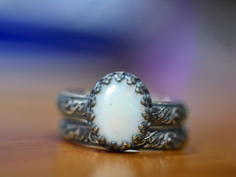 Oxidised Floral Silver White Opal Wedding Ring Set