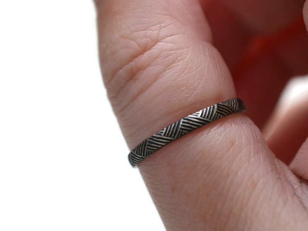 Handmade Oxidized Silver Florentine Ring