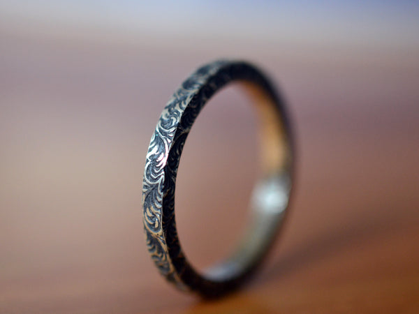 Handmade Oxidised Silver Plume Patterned Band