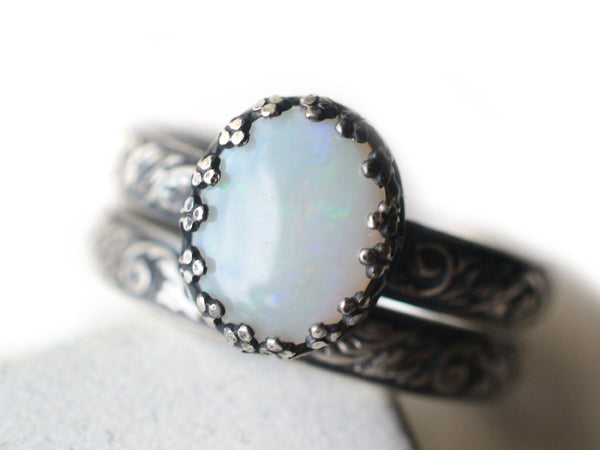 Gothic Floral Silver White Opal Wedding Set