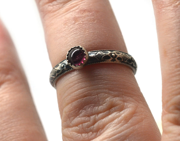Oxidized Floral Silver Ring with 4mm Pink Tourmaline Cabochon
