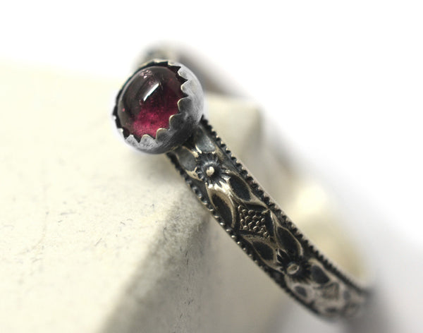Oxidized Floral Silver & 4mm Pink Tourmaline Promise Ring