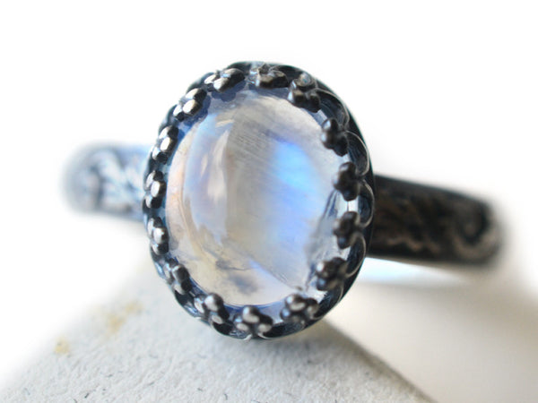 Gothic Rainbow Moonstone Ring in Oxidized Sterling Silver