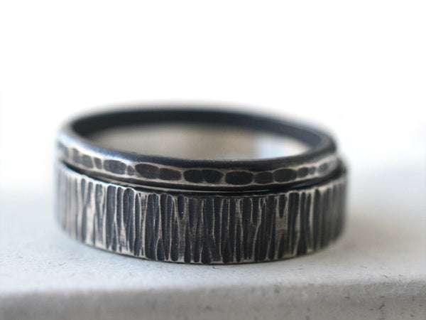 Oxidized Sterling Silver Rustic Hammered Wedding Ring Set