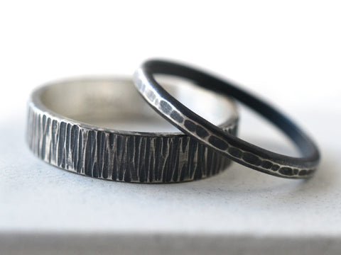 Hammered Wedding Bands in Oxidized Sterling Silver