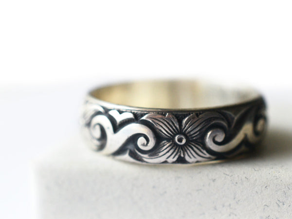 Handmade Oxidized Silver Scroll & Flower Wedding Band