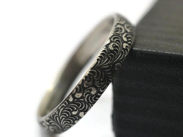 Handmade Wedding Ring, Shiny or Oxidized Silver Band, Patterned Jewellery