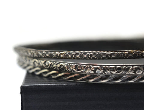 Set of Three Handmade Oxidized Silver Layered Bangles