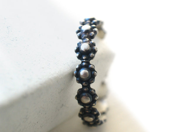 Oxidized Sterling Silver Daisy Stacking Band