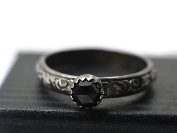 Gothic Oxidized Silver & Natural Black Spinel Promise Ring