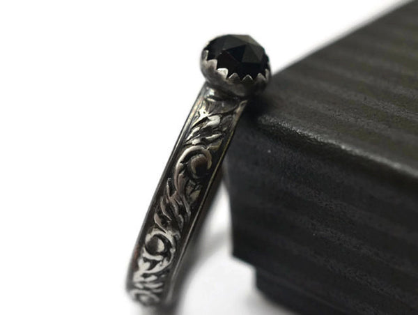 Gothic Floral Silver & 5mm Rose Cut Black Spinel Ring