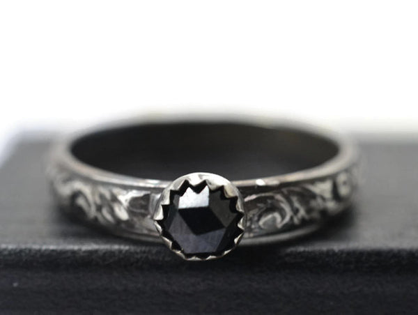 Handforged Oxidised Floral Silver & Natural Black Spinel Ring