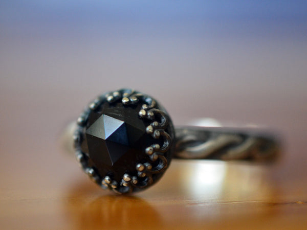 Oxidized Silver Celtic Style Black Onyx Engagement Ring