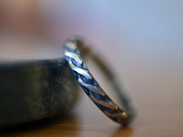 Oxidised Sterling Silver Celtic Style Wedding Band