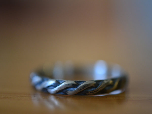 Oxidised Sterling Silver Celtic Style Wedding Ring