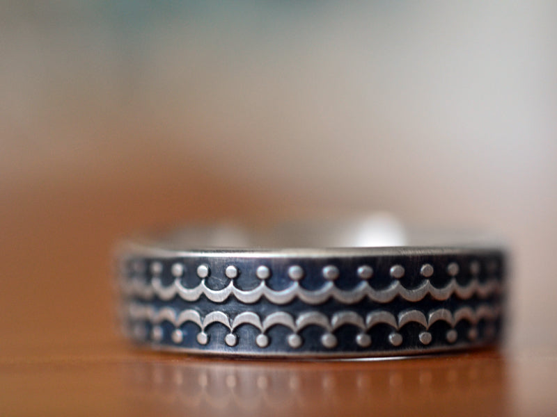 Handmade Oxidized Silver Crown Wedding Band