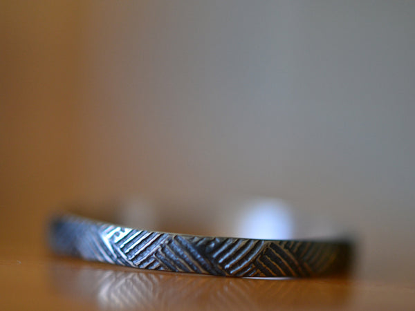 Oxidized Sterling Silver Textile Weave Pattern Ring