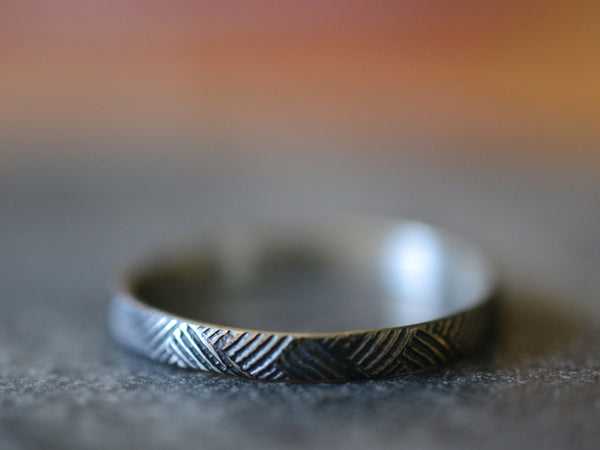 Oxidized Silver Florentine Weave Patterned Ring