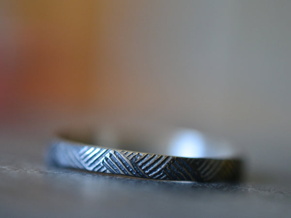 Oxidized Sterling Silver Weave Patterned Stack Ring
