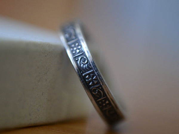 Handmade Oxidised Silver Greek Art Pattern Wedding Band