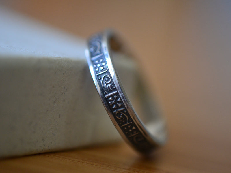 Oxidised Silver Greek Art Pattern Wedding Band with Engraving