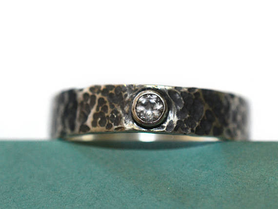 Tiny White Topaz Oxidized Silver Wedding Band
