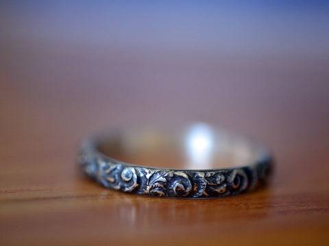 Handmade Oxidised Silver Floral Poesy Stacking Ring