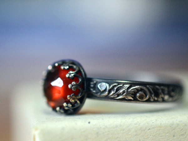 Oxidized Silver Renaissance Style Hessonite Garnet Ring