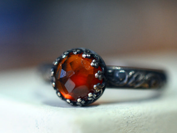 Oxidized Floral Silver Hessonite Garnet Engagement Ring