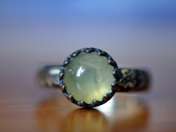 Handmade Oxidised Floral Silver Prehnite Engagement Ring