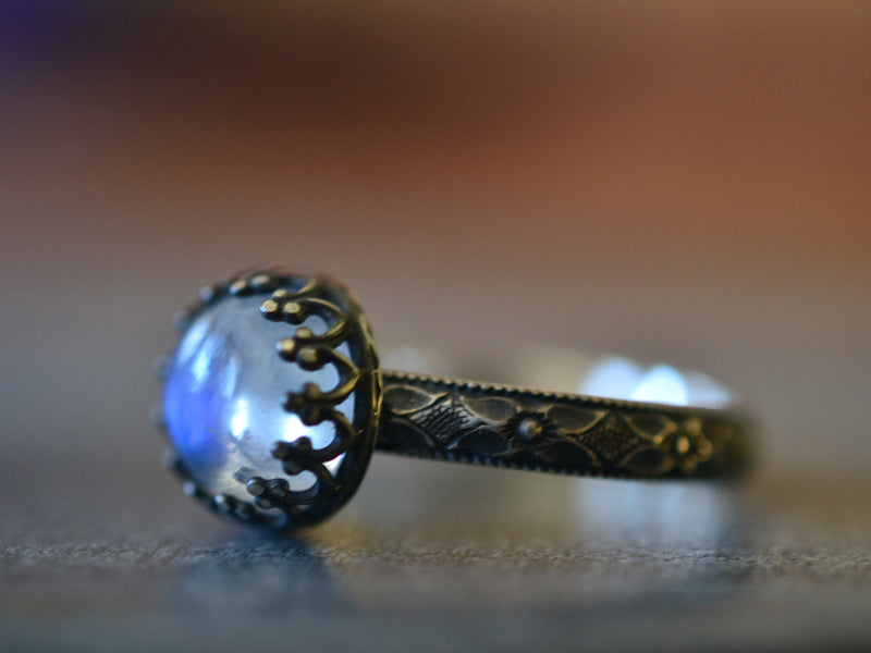 Gothic Oxidised Silver Blue Moonstone Engagement Ring