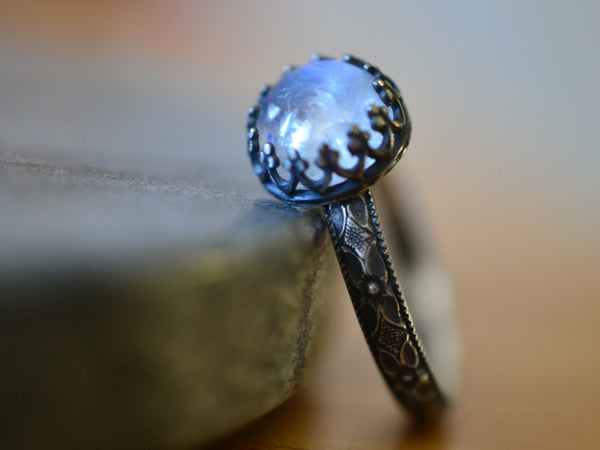 8mm Blue Moonstone Ring in Gothic Oxidised Silver