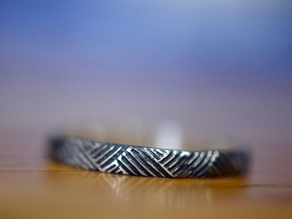 Oxidised Silver Weave Pattern Stack Ring