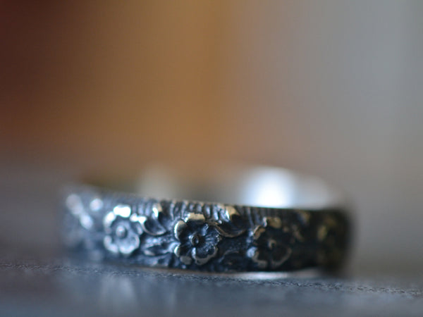 Personalised Oxidised Silver Rose Pattern Wedding Band