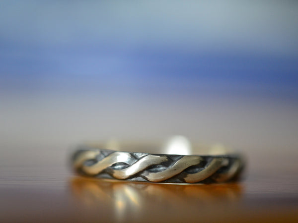 Oxidised Silver Narrow Celtic Wedding Band with Engraving