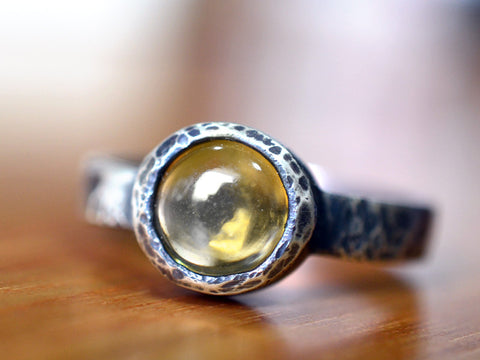 Natural Yellow Citrine Statement Ring in Antiqued Sterling Silver