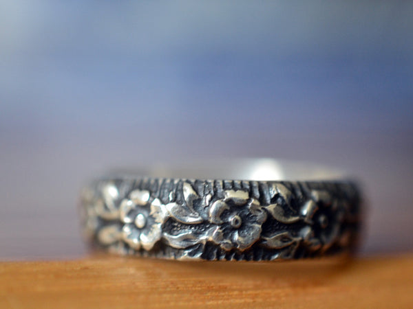 Oxidized Silver Wild Rose Wedding Band with Engraving