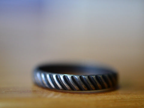 Oxidized Silver Industrial Tyre Pattern Men's Wedding Band
