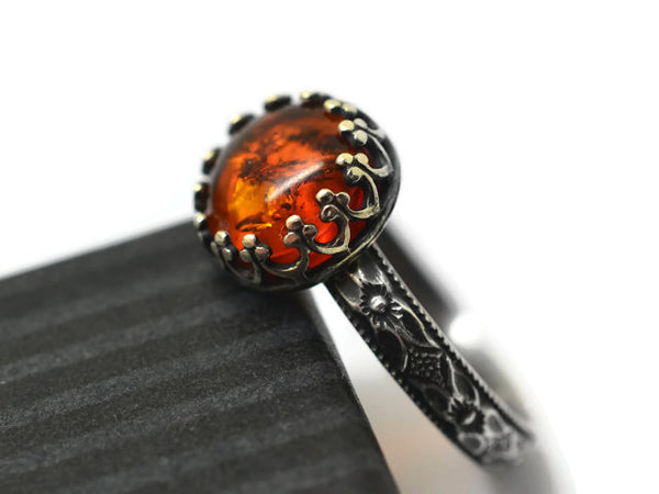 Oxidized Silver Victorian Floral Baltic Amber Ring