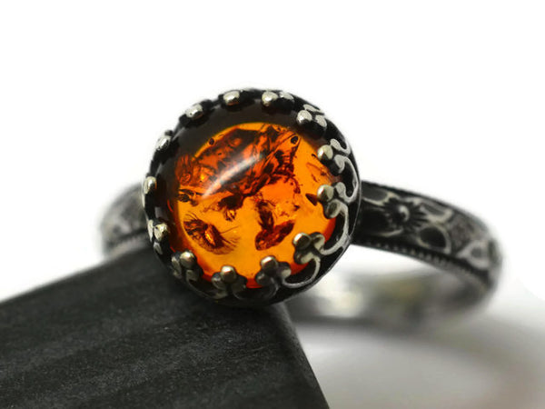 Handmade Oxidized Silver Victorian Floral Baltic Amber Ring