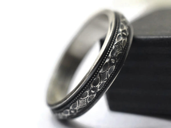 Victorian Style Poesy Wedding Band, Oxidized Floral Silver Ring